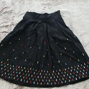 50s Retro Raindrop Black A Line Skirt